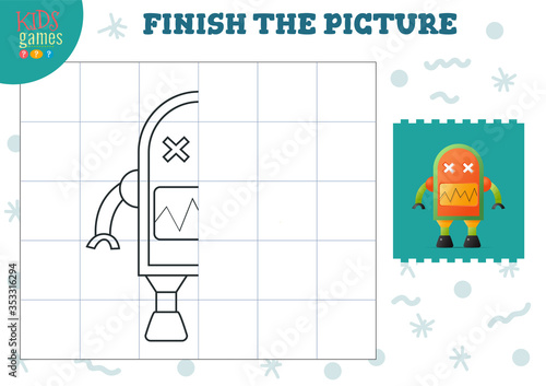 Fototapeta Copy picture vector illustration. Complete and coloring game for preschool and school kids obraz