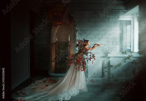 Fototapeta Artwork photo. Image gothic queen. black orange monarch butterflies. Dark room of castle, golden throne, magic sun rays from window. Creative dress Long train peach silk skirt. Glamour fantasy woman obraz