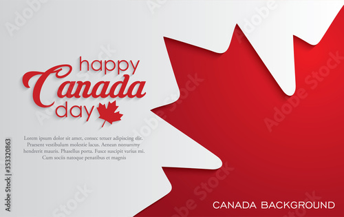Fotografia Happy Canada Day background with red maple leaf