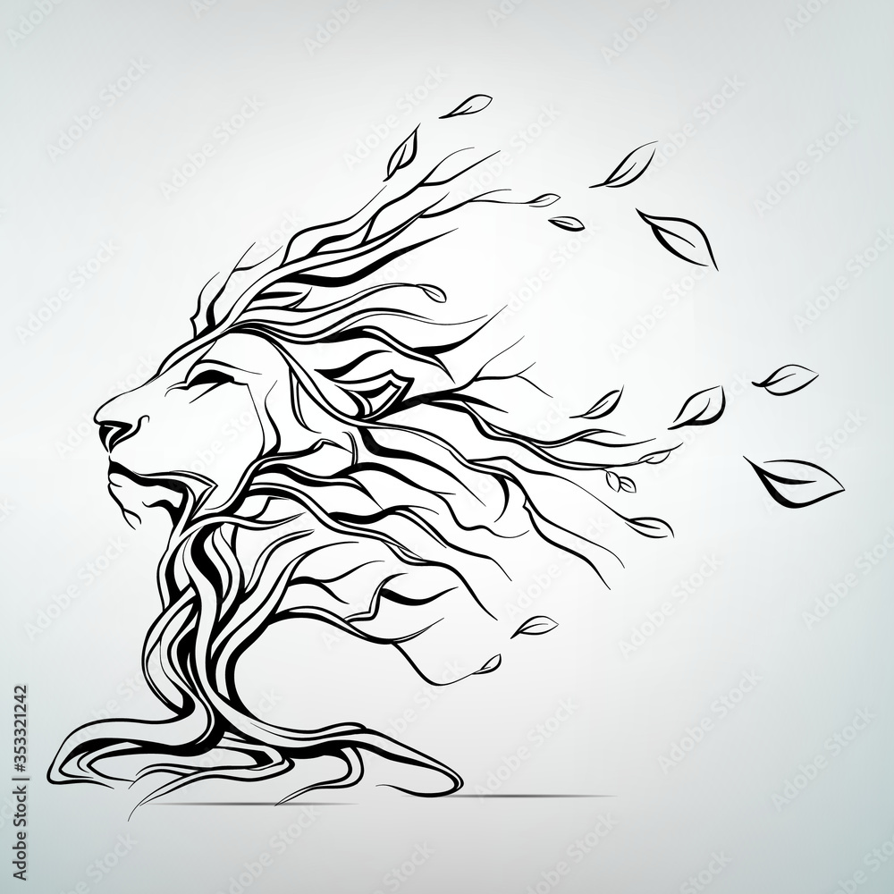 Fototapeta The head of a lion in the form of a tree
