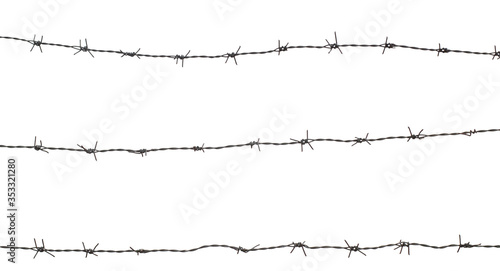 three barbed wire fence on white background Canvas-taulu