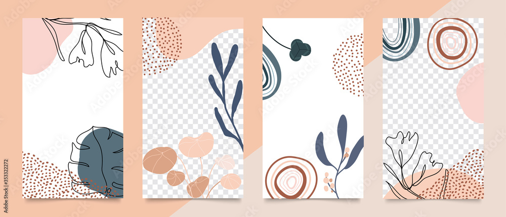 Fototapeta Social media stories and post creative vector set. Abstract shapes background template with floral and copy space for text and images. Vector illustration.