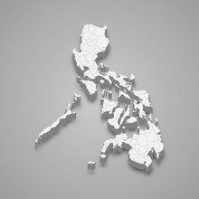 Philippines 3d Map With Border...