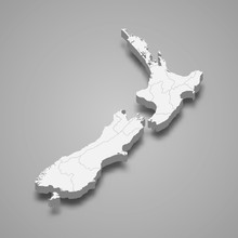 New Zealand 3d Map With Border...