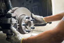 Mechanic Inspection On Brakes System, Service, Maintenance , Repair Concept.