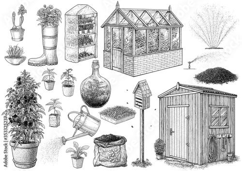 Obraz Gardening tool collection, illustration, drawing, engraving, ink, line art, vector - fototapety do salonu