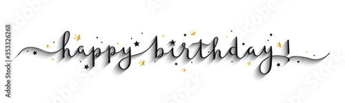 HAPPY BIRTHDAY! black and gold vector brush calligraphy banner with stars Fototapete
