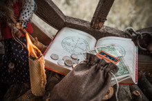 Ritual And Spell For Attracting Money, Pagan Magic And Fate Prediction, Work Of Witch, Occultism Concept