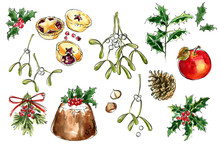 Christmas Decor. Food Sketch Watercolor And Ink. Pudding, Tart, Apple, Mistletoe, Holly, Mince Pies