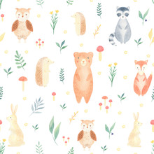 Watercolor Woodland Seamless P...