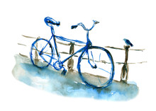 Watercolor Sketch Of Bicycle In Blue Color. Bike Near The Fence. Watercolor Illustration Isolated On White Background. Can Be Used For Cards, Wallpapers, Interiors, Backgrounds, Invitations, Fabrics.