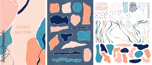 Fotografija Set of abstract shapes, torn paper elements, art design forms for creating cards, compositions, backgrounds, appliques