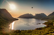 canvas print picture A drone flies over a beautiful landscape in Norway, Scandinavia. Sea and mountains on Senya island at sunset, beautiful northern landscape