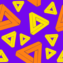Seamless Pattern Creating Optical Illusion. Geometry Of Yellow And Orange Triangles On Violet Background. Perfect For Textile And Wrapping Paper Design.