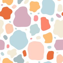 Seamless Pattern With Modern Color Doodle Shapes.