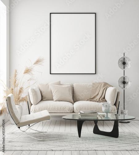 Fotografija mock up poster frame in modern interior background, living room, Scandinavian st