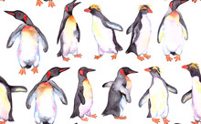 Penguins Watercolor Seamless P...