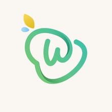 W Letter Green Line Logo.