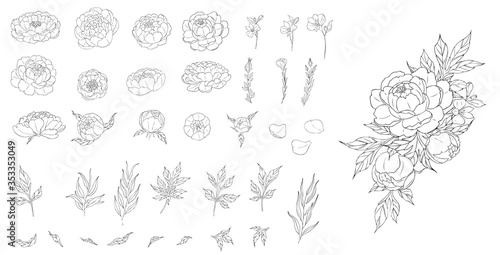 Canvas Print Big set of peony flowers and leaves for making tattoo compositions