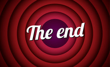 The End Movie Font Comic Poster Circle. Cartoon Film End Poster Logo Background.