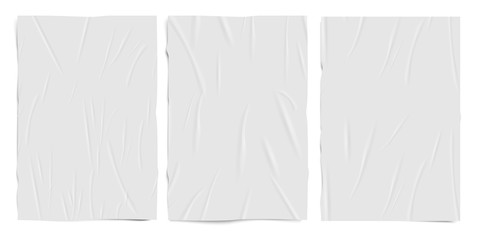 White empty badly glued paper texture, wet wrinkled effect paper sheets, vector realistic set