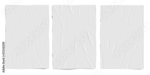 Tablou Canvas White empty badly glued paper texture, wet wrinkled effect paper sheets, vector