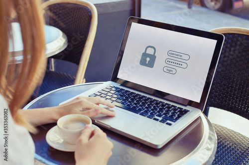 Leinwand Poster data protection and internet security concept, woman user typing password on com