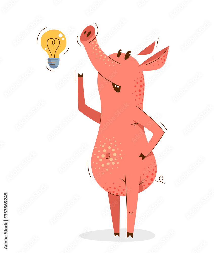 Fototapeta Funny cartoon pig thinking on some idea shown with light bulb vector illustration, happy smart animal swine character drawing.