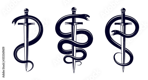 Photo Snake and Dagger, Serpent wraps around a sword vector vintage tattoo, Roman god Mercury, luck and trickery, allegorical logo or emblem of ancient symbol