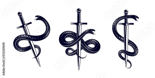 Snake and Dagger, Serpent wraps around a sword vector vintage tattoo, Life is a Fight concept, allegorical logo or emblem of ancient symbol Tapéta, Fotótapéta