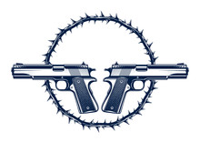 Two Crossed Handguns Vector Em...