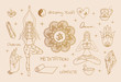 Yoga symbols: girl in lotus and tree pose, tea, yoga mat, yin yang, crystals, mandala, meditation