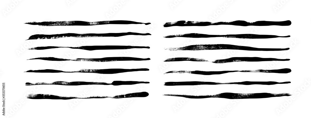 Fototapeta Black paint wavy and straight brush strokes vector collection. Dirty grunge lines and wavy brushstrokes.
