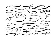 Swooshes And Flourish Brush Stroke Vector Collection. Black Paint Wavy Lines, Dirty Curved Strokes.