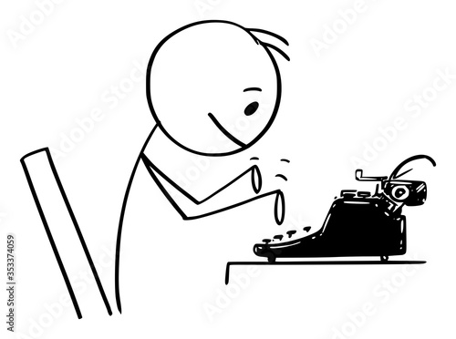 Fototapeta Vector cartoon stick figure drawing conceptual illustration of man, journalist, author or novelist typing on antique typewriter machine