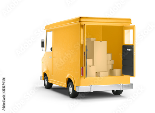 Obraz Truck delivery service and transportation. 3d illustration. Cartoon yellow car. Back view. - fototapety do salonu