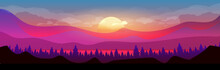 Sunset In Mountains Flat Color...