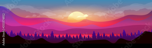 Fototapeta Sunset in mountains flat color vector illustration. Coniferous forest. Woodland on horizon. Wild nature. Fir trees and hills 2D cartoon landscape with sun and clouds in purple sky on background obraz