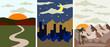 Set of landscape illustration. Vector illustration in flat style. Outdoor landscape style vector cartoon .