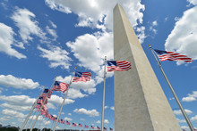 Washington Monument And U.S. National Flags - Washington D.C. United States Of America