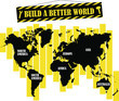 Abstract vector world map. Wall decals. Info graphic. Build a better world. World vector Illustration