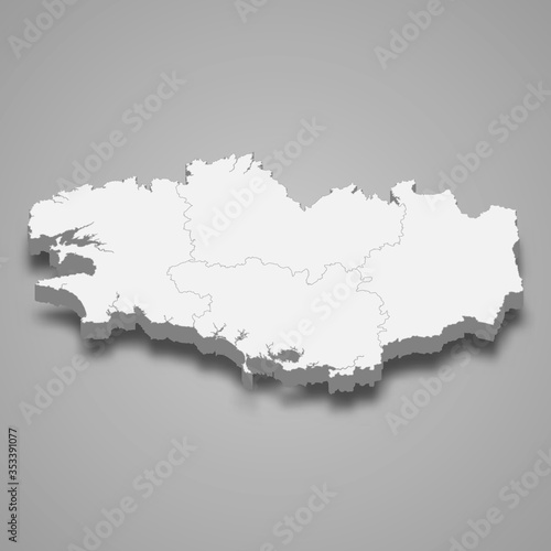 Tela Brittany 3d map region of France Template for your design
