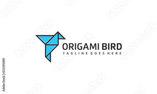 Fotografie, Obraz Creative and simple origami bird logo design vector on white background