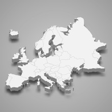 Europe 3d Map Of Europe Template For Your Design