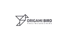 Creative And Simple Origami Bird Logo Design Vector On White Background