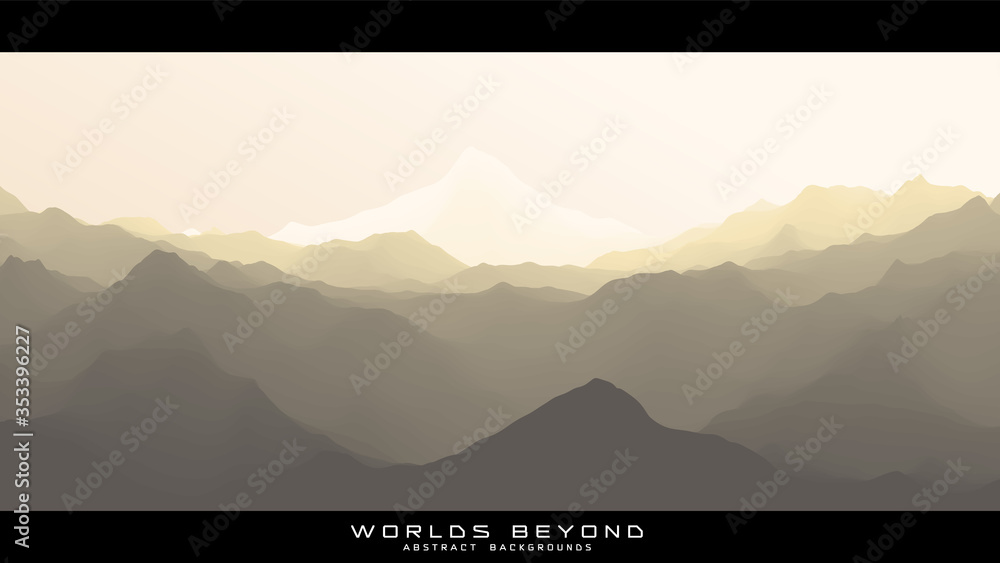 Fototapeta Worlds beyond abstract landscapes. Vector beautiful misty fog over mountain slopes. Abstract gradient eroded terrain surface background. Colorful waves.