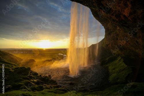 Waterfall Selandjafoss Iceland at sunset or sunrise Canvas Print