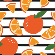 Orange Fruit Seamless Pattern For Background With Abstract Elements. Vector Decoration For Healthly Lifestyle And Vitamins.
