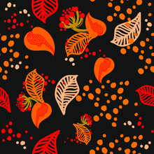 Pattern, Seamless, Rowan Berries, Abstract Leaves, Orange Spots, On A Black Background, Vector Illustration