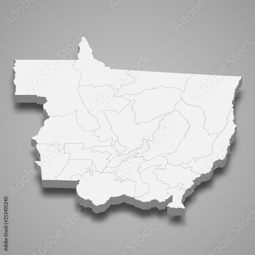 Photo mato grosso 3d map state of Brazil Template for your design